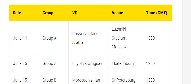 world cup football fixture