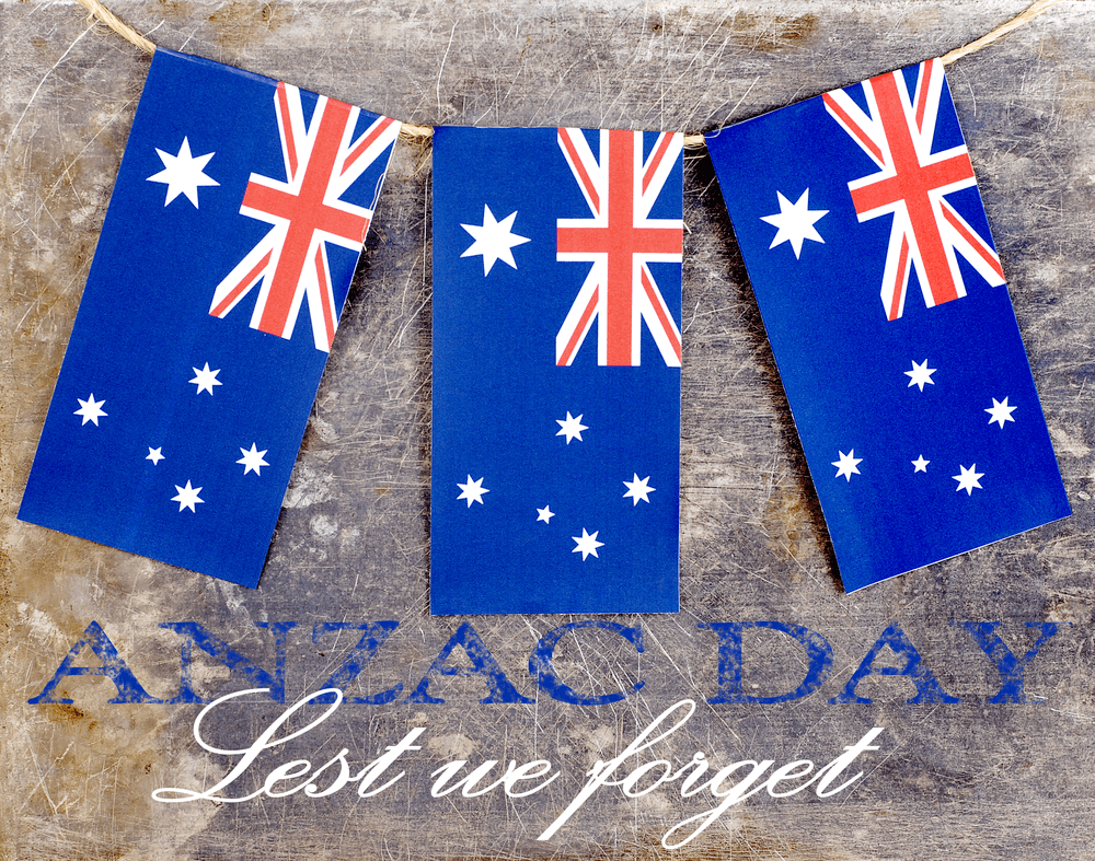 Anzac day image with australian flag