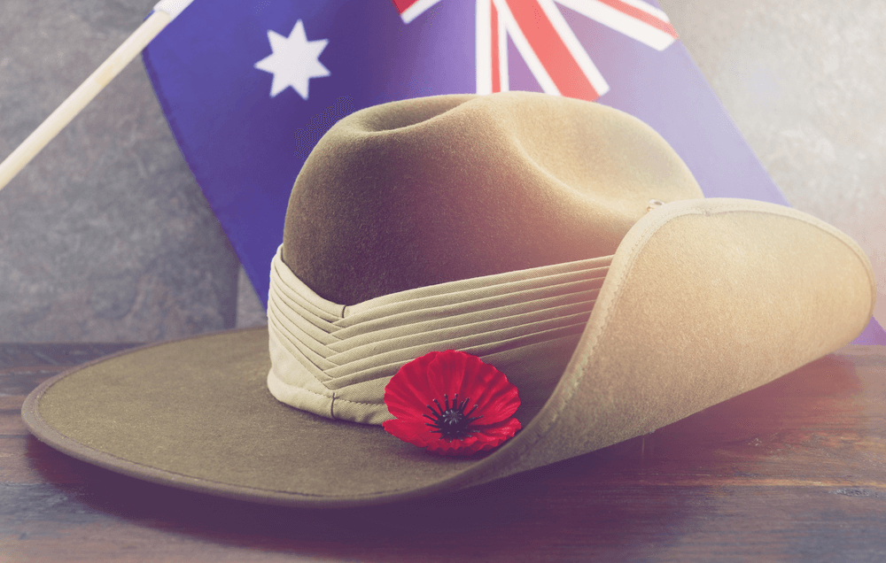 Anzac day image with hat with australian flag