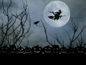 halloween witch full moon