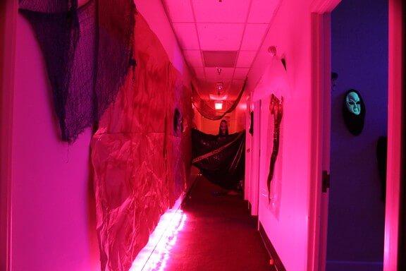 red dark haunted house ideas